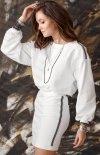 Sportowy komplet bluza i spódnica biała 0004