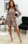 Modna sukienka mini z guziczkami przy dekolcie-1