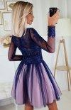 Rozkloszowana sukienka z błyskiem 2194-11 tył
