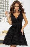 Rozkloszowana sukienka w groszki czarna 2217-06