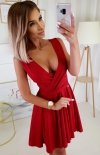 Elegancka czerwona sukienka z brokatem 2215-02