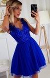 Rozkloszowana sukienka z koronką chabrowa Bicotone 2206-05