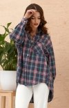 Asymetryczna koszula w kratę 0103 A14