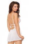 Biała tiulowa koszulka nocna i stringi Vanessa tył