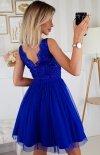 Rozkloszowana sukienka z koronką chabrowa Bicotone 2206-05 tył