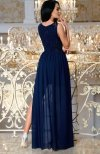 Bicotone 2171-01 sukienka maxi granatowa tył