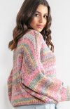Oversizowy sweter multikolor pinki F1163 tył