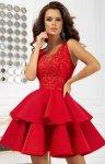 Rozkloszowana sukienka z pianką czerwona 2122-02