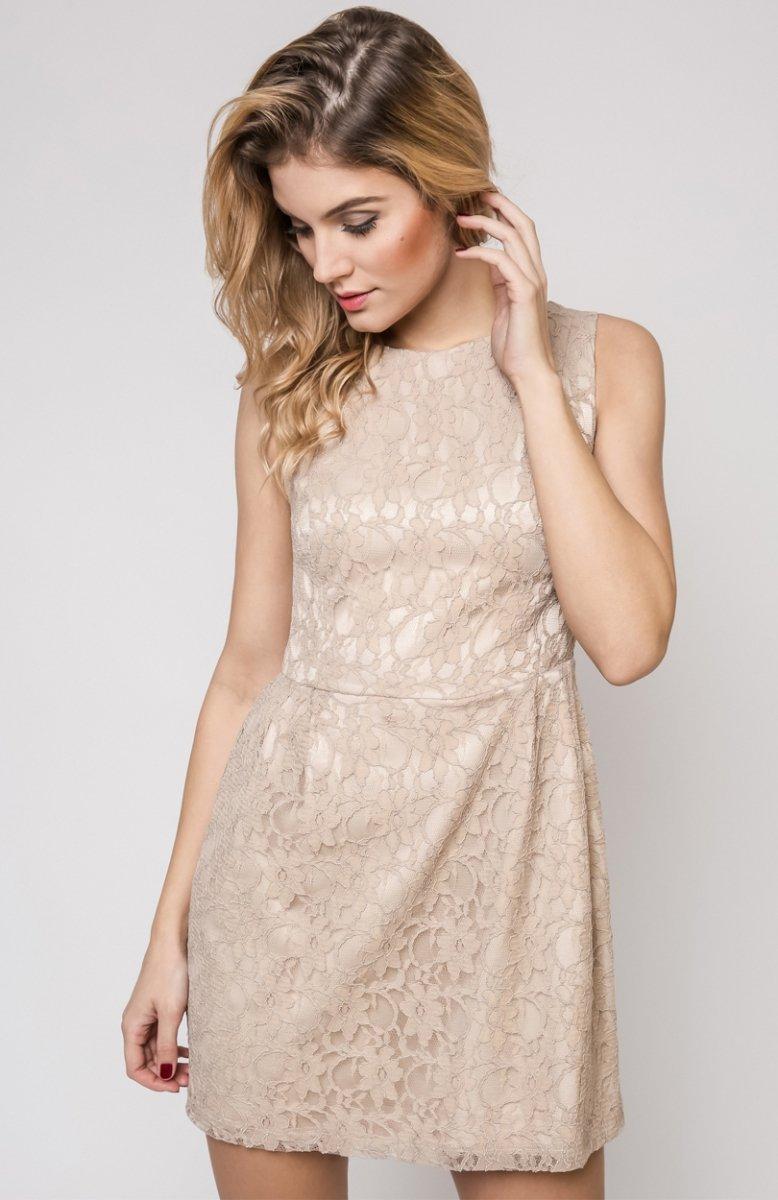 b1ae8b8df3 Vera Fashion Sonia sukienka beżowa - Modne sukienki 2017 - Odzież ...