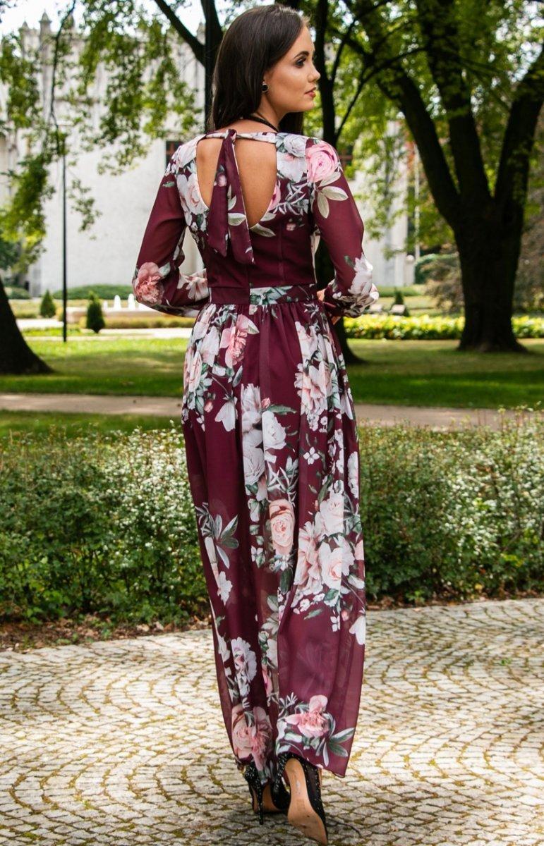 Stylowa sukienka maxi w kwiaty 0219D38 Odzież damska Roco