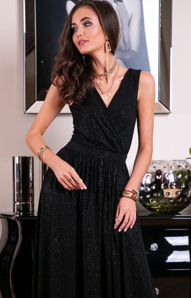 Wieczorowa sukienka z brokatem czarna 224 Długie sukienki