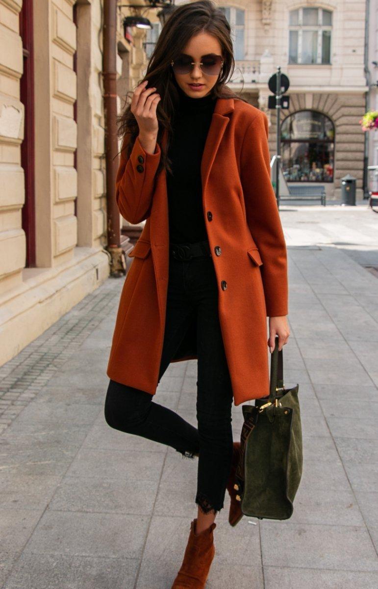 Wełniany płaszcz rudy Roco P012 Płaszcze i Kurtki damskie