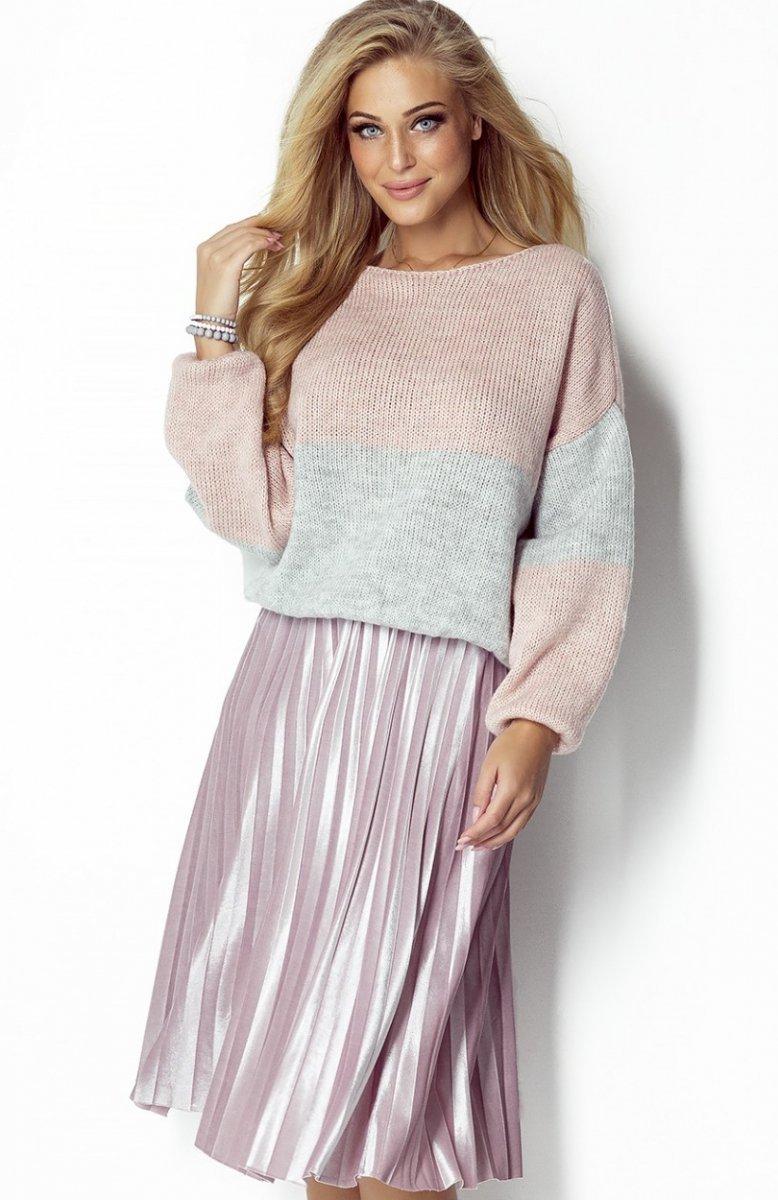 Świeże FIMFI I302 sweter pudrowy róż - Sweter damski - Kardigany damskie SO52