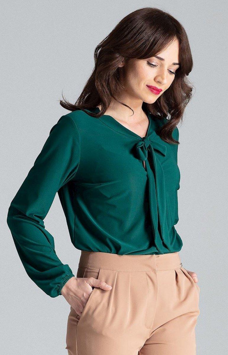 5c87c359fa Bluzka różowa z krawatką zielona L030 - Odzież damska Lenitif ...