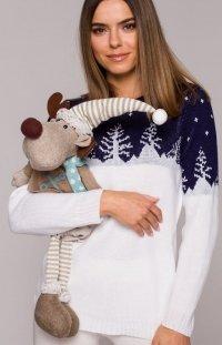 Świąteczny sweter choinki granatowe MXS05
