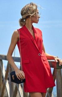 Elegancka sukienka marynarka czerwona M439