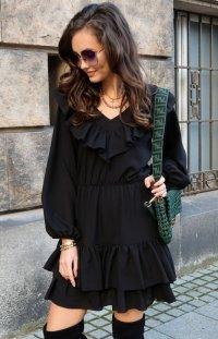 Kobieca sukienka z falbankami czarna 0306