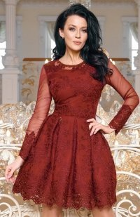 Bicotone 2162-10 sukienka rozkloszowana bordowa