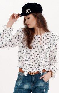 Wzorzysta koszula z falbankami 059/S31