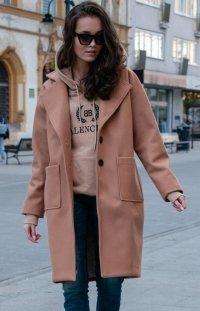 Elegancki oversizowy płaszcz Roco karmelowy P013