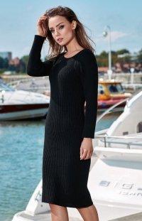 Sweterkowa sukienka czarna LS224