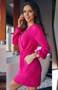 *Lola Fashion sukienka przekładana różowa