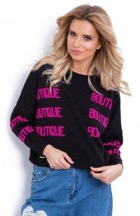 Fobya F623 sweter z napisami czarny