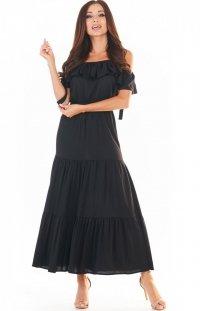 Długa letnia sukienka hiszpanka czarna A358