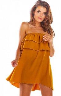Oversizowa sukienka z falbaną karmelowa A299