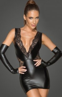 Erotyczna sukienka wetlook F212