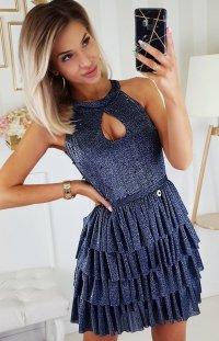 Błyszcząca mini sukienka z falbankami 2198-01