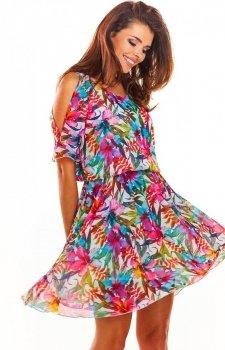 Zwiewna sukienka w kolorowy wzór A295