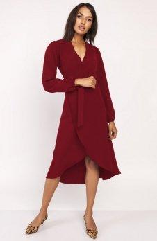 Asymetryczna, kopertowa sukienka bordowa SUK160
