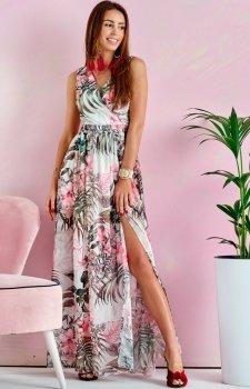 Szyfonowa długa sukienka letnia kolorowa 0209 U64