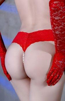 Koronkowe majteczki z wibratorem i perłami