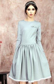 Kasia Miciak design rozkloszowana sukienka szara