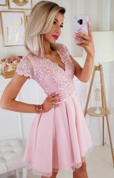 Sukienka z koronkową górą Bicotone pudrowy róż 2180-12