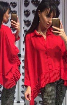 Oversizowa koszula z plisowaniem czerwona