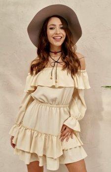 Kobieca sukienka hiszpanka waniliowa 0297