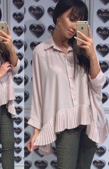 Oversizowa koszula z plisowaniem beżowa