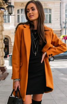 Elegancki płaszcz z wełną musztardowy Roco P012