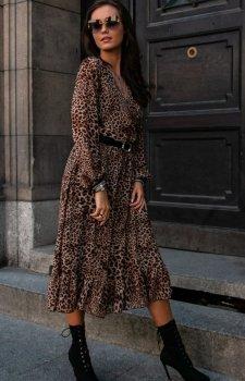 Sukienka midi w panterkę z falbaną 0241/58