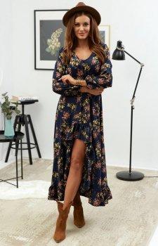 Asymetryczna sukienka maxi w kwiaty Lola