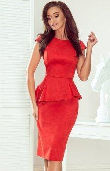 Ołówkowa sukienka z baskinką Numoco 192-11