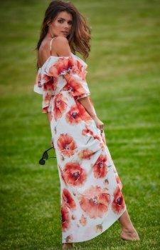 Długa sukienka letnia hiszpanka biało-czerwona A311