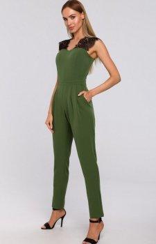Elegancki kombinezon zielony z koronką M484