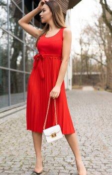 Sukienka midi z plisowaniem Meratin red D07