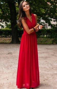 Elegancka szyfonowa sukienka wino 0213