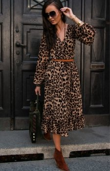 Sukienka midi w panterkę z falbaną 0241/60
