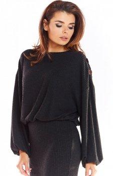 Sweter z kimonowymi rękawami czarny A318